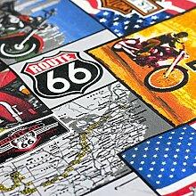 Brittschens Stoffe und Zutaten Stoff Baumwolle beschichtet Live to ride - Route 66 - Motorrad - 50cm x 140cm - Stoff zum Nähen - Tischdecke -
