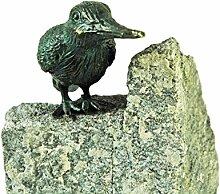 Bronze-Figur by YERD Gartendeko: Gartenfigur Bronze Eis-Vogel geschlossene Flügel 7,5 cm hoch, auf Granit-Stein