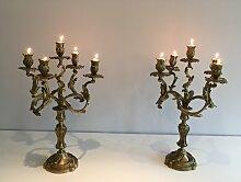 Bronze Kerzenständer mit Fünf Armen, 1900er, 2er