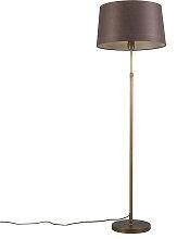 Bronze Stehleuchte mit braunem Lampenschirm