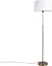 Bronze Stehleuchte mit Leinenschirm weiß 45 cm