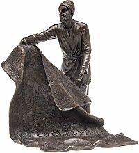 Bronze Teppichhändler Orient Teppich Bronzefigur Bronzeskulptur Figur Perser