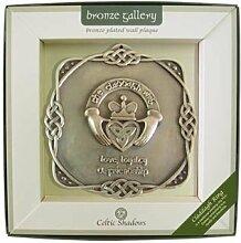 Bronze versilberte Wandtafel mit Claddagh Ring