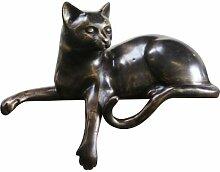 Bronzefigur sitzende Katze, Tierfigur aus Bronze,