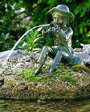 Bronzefigur wasserspeiend auf Stein Skulptur echte Handarbeit Gartenskulptur Gartenfigur Garten-Statue