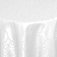 Bronzino Tischdecke Oval Weiß 160 x 300 cm Ornamente Form, Farbe & Größe wählbar