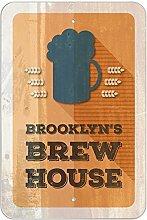 """Brooklyn 's Brew House–hausgebrautem Bier Bar Pub Club Kunststoff Schild, plastik, 12"""""""" x 18"""""""" (30.5cm x 45.7cm)"""