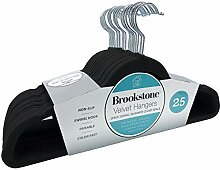 Brookstone Samt-Kleiderbügel, Schwarz 25 Stück