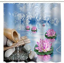 Broshan Duschvorhang aus Bambus und Wasserdekor,