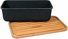 Brotbox mit Schneidebrett-Deckel - 100% BIO Bambusfasern und Mais Carbon black