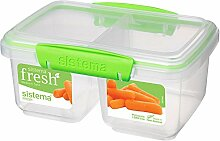 Brotdose Brotzeitdose Lunchbox Vesperdose Vorratsdose, geteilt, medium, BPA-freier Kunststoff, ca. 17.5 x 11.5 x 8.5 cm, Kunststoff BPA frei, transparent/grün