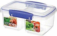 Brotdose Brotzeitdose Lunchbox Vesperdose Vorratsdose, geteilt, medium, BPA-freier Kunststoff, ca. 17.5 x 11.5 x 8.5 cm, transparent/blau