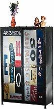 Brotschrank Eidar Metall Vintage bunt bemalt Breite 90 cm Tiefe 45 cm Höhe 145 cm