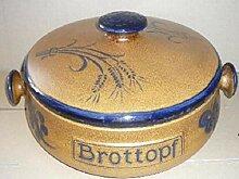 Brottopf aus Keramik Dekor: braun-blau Form rund