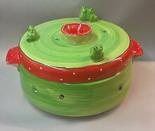 Brottopf mit Griffen Keramik in erdbeere mit