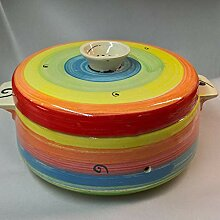 Brottopf mit Griffen Keramik in regenbogen