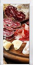Brotzeit mit Wurst als Türtapete, Format: 200x90cm, Türbild, Türaufkleber, Tür Deko, Türsticker