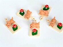 Brotzeitbrett mit Glücksschwein und Glückspilz, 5er Set Kunststoff Glücksbringer - Bastelbadarf, Glückwunsch, für Silvester und Neujahr