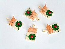 Brotzeitbrett mit Schwein und Kleeblatt, 5er Set Kunststoff - Tolle Geschenkidee - Glücksbringer. Weihnachtsgeschenk oder Bastelgeschenk, Bastelbedarf