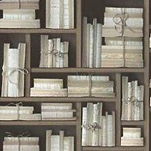 BROWN / BLACK / CREAM - G56153 - OLD BOOKS BOUND - BOOKCASE - MEMORIES 2 - GALERIE WALLPAPER by Galerie