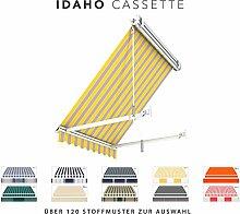 BroxSun Balkon- und Fenster Kassettenmarkise Idaho Casette   Breite 1m bis 5m   Auslage 1,4m   Auswahl: 120 Stoffe uvm. manuell oder elektrisch uvm.   wetterfeste Fallarmmarkise elektrisch, Idaho Casette Steuerung:Motor Digital/Fernbedienung, Idaho Casette Abmessungen:Breite von 471 bis 500cm / Länge 100cm