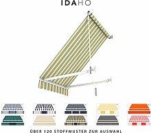 BroxSun Balkon- und Fenstermarkise Idaho   Breite 1m bis 5m   Auslage bis 1,8m   Auswahl: 120 Stoffe, manuell oder elektrisch uvm.   wetterfeste Fallarmmarkise elektrisch Sonnenschutz breit, Idaho Steuerung:Motor Digital/Fernb./Funk Windautomat, Idaho Abmessungen:Breite von 171 bis 230cm / Länge 100cm