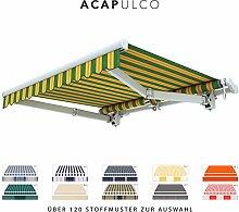 BroxSun Gelenkarmmarkise Acapulco   Breite 1,95 bis 7m   Auslage bis 3,6m   Auswahl: 120 Stoffe, manuell oder elektrisch uvm.   wetterfeste Markise elektrisch Sonnenschutz Terrasse beschattung breit, Acapulco Steuerung:Somfy/Fernb.Motor und Kurbel &Windsensor, Acapulco Abmessungen:Breite von 411 bis 470cm / Länge 260cm