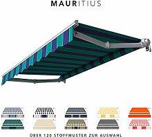 BroxSun Gelenkarmmarkise Mauritius   Breite 1,9 bis 5m   Auslage bis 3,1m   Auswahl: 120 Stoffe, manuell oder elektrisch uvm.   wetterfeste Markise elektrisch Sonnenschutz für Terrasse beschattung, Mauritius Abmessungen:Breite von 351 bis 410cm / Länge 210cm, Mauritius Steuerung:Somfy/Fernb.Motor und Kurbel &Windsensor