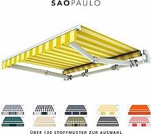 BroxSun Gelenkarmmarkise Sao Paulo   Breite 2m bis 5,3m   Auslage bis 2,5m   Auswahl: 120 Stoffe, manuell oder elektrisch uvm.   wetterfeste Markise elektrisch Sonnenschutz Terrasse beschattung breit, Sao Paulo Steuerung:Kurbelantrieb manuell, Sao Paulo Abmessungen:Breite von 471 bis 530cm / Länge 220cm