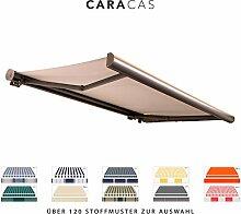 BroxSun Kassettenmarkise Caracas   Breite 2,0 bis 6m   Auslage bis 3,6m   Auswahl: 120 Stoffe, manuell oder elektrisch uvm.   wetterfeste Markise elektrisch Sonnenschutz Terrasse beschattung breit, Caracas Steuerung:Somfy/Fernb.Motor und Kurbel &Windsensor, Caracas Abmessungen:Breite von 531 bis 600cm / Länge 260cm