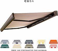 BroxSun Kassettenmarkise Cuba mit LED Beleuchtung   Breite 2,1 bis 7m   Auslage bis 3,6m!   Auswahl: 120 Stoffe, div. Antriebe uvm.   wetterfeste Markise elektrisch Sonnenschutz Terrasse beschattung, Cuba Steuerung:Somfy/Fernbedi. u. Wind+Sonnensensor LED, Cuba Abmessungen:Breite von 531 bis 590cm / Länge 360cm