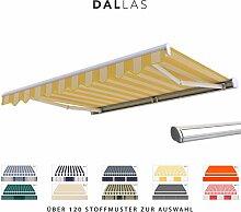 BroxSun Kassettenmarkise Dallas   Breite 2,0 bis 6m   Auslage bis 3,6m   Auswahl: 120 Stoffe, manuell oder elektrisch uvm.   wetterfeste Markise elektrisch Sonnenschutz Terrasse beschattung breit, Dallas Steuerung:Motor Digital/Fernbedienung, Dallas Abmessungen:Breite von 400 bis 410cm / Länge 360cm
