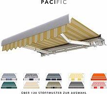 BroxSun Kassettenmarkise Pacific   Breite 2,1 bis 7m   Auslage bis 3,6m!   Auswahl: 120 Stoffe, manuell oder elektrisch uvm.   wetterfeste Markise elektrisch Sonnenschutz Terrasse beschattung breit, Pacific Steuerung:Kurbelantrieb manuell, Pacific Abmessungen:Breite von 591 bis 650cm / Länge 210cm