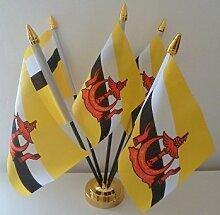 Brunei Brunei) 5Flagge Desktop Tisch mit Gold Boden