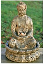 BRUNNEN BUDDHA SKULPTUR STATUE 52cm MIT WASSER +