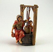 Brunnen mit Magd und Kind aus Polyresin,