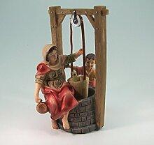 Brunnen mit Magd und Kind aus Polyresin. Zuv12 cm.
