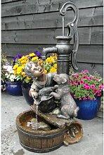 Brunnen Nancy aus Polyresin Happy Larry