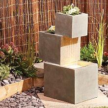 Brunnen Tinney aus Polystein mit LED-Licht Garten