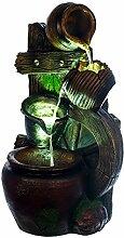 Brunnen Wagenrad, Krüge, mit 3 LED Leuchten,G53-17100, (Brunnen1), LED Lampen, Dekobrunnen, Springbrunnen, Wasserspiele Vogelbad MIT elektrischer Pumpe , 59 cm hoch, Deko, Polyresin, Gartendekoration,