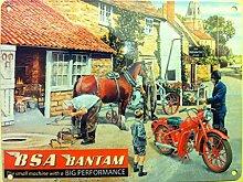 BSA Bantam-Die kleine Maschine mit einem Big Performance. Rot Motor Cycle Bike an der Schmiede Arme. Malerei auf Metall Schild für Haus, Zuhause, Bar oder Schmiede Pub. Metall/Stahl Wandschild, stahl, 30 x 40 cm