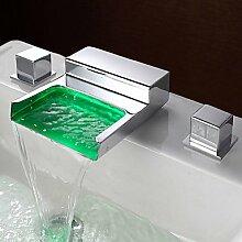 BSF Zeitgenössisch LED 3-Loch-Armatur Wasserfall with Messingventil Zwei Griffe Drei Löcher for Chrom, Waschbecken Wasserhahn