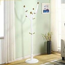 BSNOWF-Kleiderständer Kleiderständer massivem Holz drei Beine Kleiderbügel Boden Kleiderbügel Schlafzimmer einfache Kleidung Rack 185cm ( Farbe : White gold )