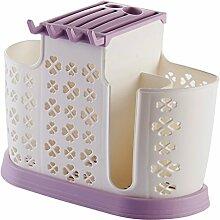 BSNOWF Regal-Plastikessstäbchen-Rohr-Abfluss-Speicher-Küchen-Geschirr ( Farbe : Lila )