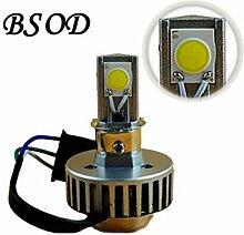 Bsod 12W LED H4-Lampe weiß 360-Grad-2000 Lumen 3 Stück Cold White COB Lichtquelle mit hoher Helligkeit Auto-Scheinwerfer Motorrad ersetzen