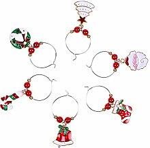 Bstopsel 6 Stück/Set Weihnachten Weinglas Deko