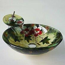 BSZLL Blume-Runde gehärtetes Glas Waschbecken und Wasserfall Wasserhahn, Pop-Drain und montieren Sie den ring