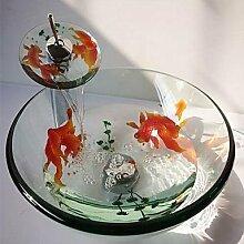 BSZLL Goldfische aus gehärtetem Glas Waschbecken und Wasserfall Wasserhahn, Pop-Drain Runde und montieren Sie den ring