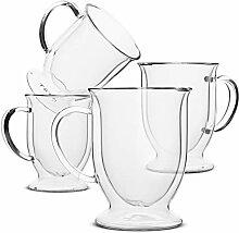 BTaT- Kaffeebecher, Kaffeeglas, 4er Set (12oz,