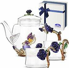 BTaT Tee-Set aus Glas mit 2 schicken Tassen, blaue